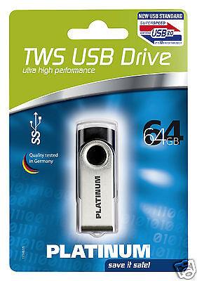 Platinum TWS 64 GB USB-Stick USB 3.0 schwarz 177497
