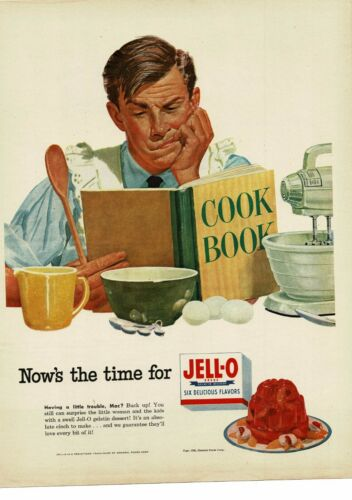1952 JELL-O man trying to cook funny art Vintage Ad