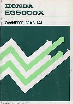 PRINTED 1985 HONDA GENERATOR EG5000X OWNER'S MANUAL (478)