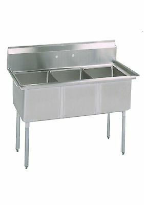 3 Compartment Stainless Steel Sink 18x18 Bowl No Drain Board - Nsf Approved