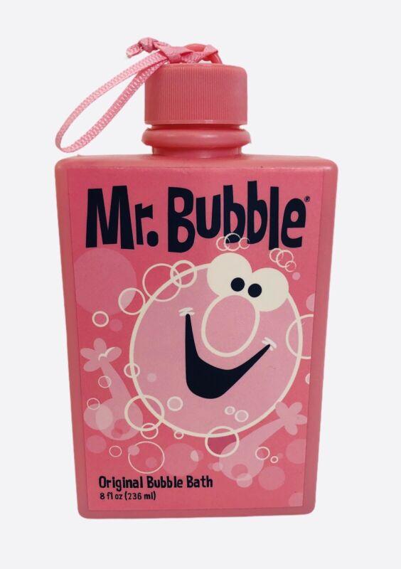 Pink Retro Mr Bubble Original Bubble Bath 8oz Vintage Graphics Plastic Bottle