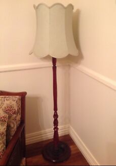 ANTIQUE FLOOR LAMP WITH ORIGINAL SHADE