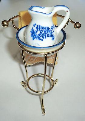 Vintage Mini Land Miniature Victorian Wash basin Brass Stand Pitcher Towel HSH