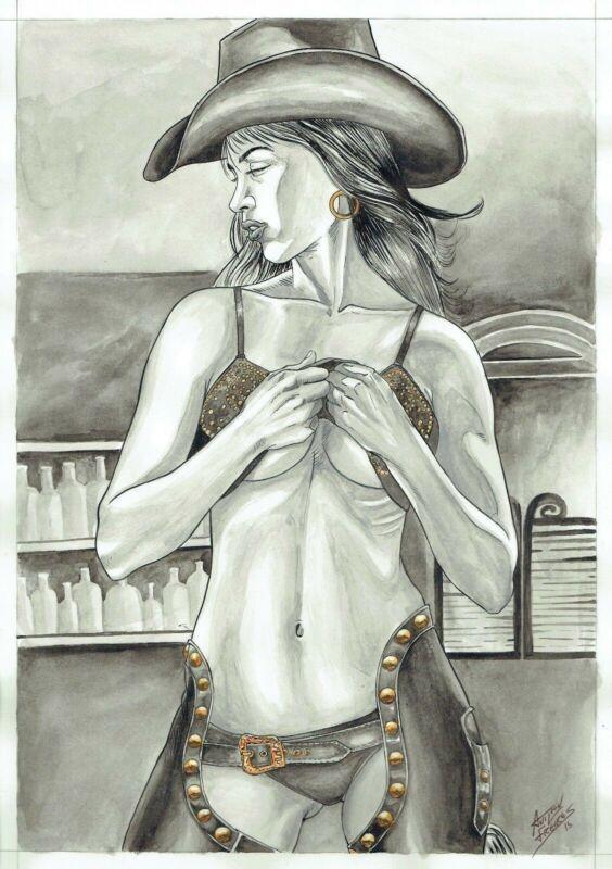 Nancy Callahan by Anilton Freires - Original Comic Art Drawing Sin City 11x17