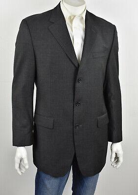 JOSEPH ABBOUD Charcoal Mini-Grid Check Wool 3-Btn Classic Fit Sport Coat 42L