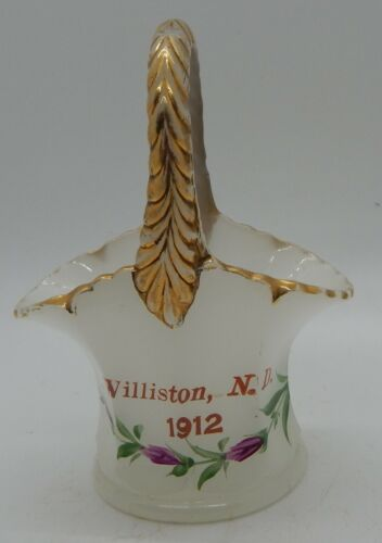 Williston, N.D. 1912 Clam Broth Glass Souvenir Basket
