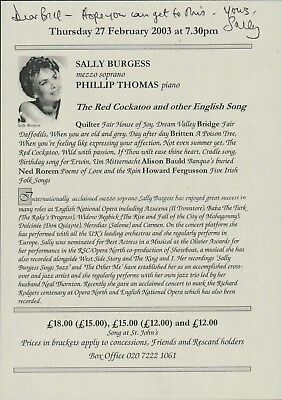 Sally Burgess. Operatic lyric mezzo-soprano. Signed  Cutting  A4.1811