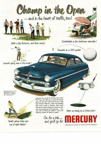 1950 MERCURY Blue Monterey 4-door Sedan Suicide Doors Golf art Vintage Ad