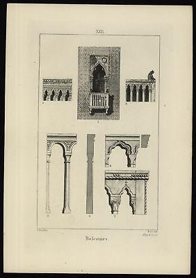 Druck-Stahlstich-Engraving-John Ruskin-R.P.Cuff-Allen&Co.Sc-Balconies-86