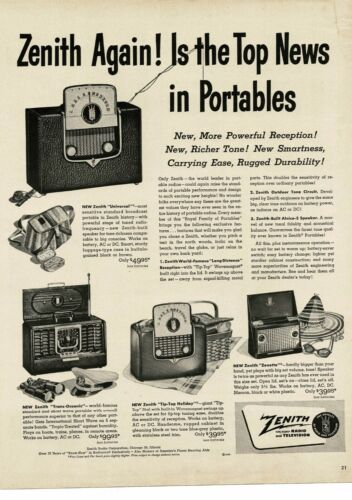 1950 ZENITH Portable Radio Universal Zenette Trans-Oceanic Vintage Ad