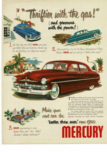 1950 MERCURY Red Monterey 4-door Sedan suicide doors art Vintage Ad