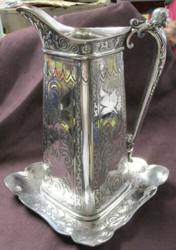 TUFTS Antique Art Nouveau Silverplate Water Pitcher & Under Plate SPECTACULAR