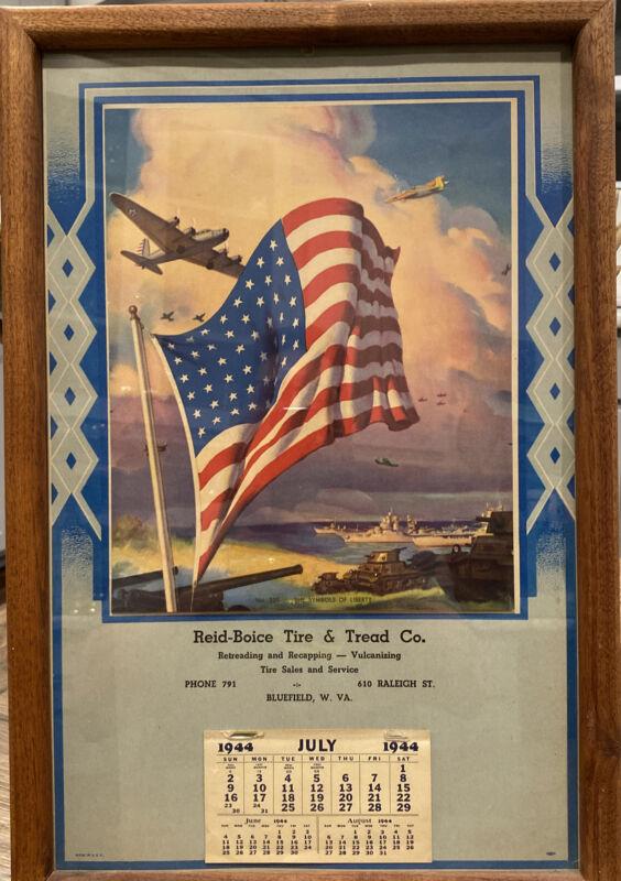"""1944 WW2 CALENDAR POSTER The Symbols of Liberty 17.75""""X12"""" Rare  W. VA."""