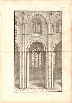 1806  ANTIQUE PRINT -  ARCHITECTURE-PART OF THE NAVE OF DUNSTABLE CHURCH