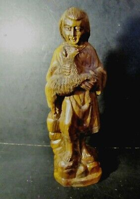 Nicely Carved Vintage / Antique Figurine of a SHEPHERD Carrying a Lamb