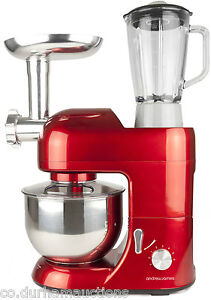 Andrew James Multifunctional Red 5.2 Food Mixer With Meat Grinder & Blender