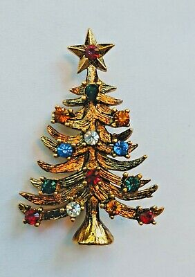 Vintage EISENBERG ICE Christmas Tree Brooch Pin Color Rhinestones Goldtone Jewel Christmas Tree Ice