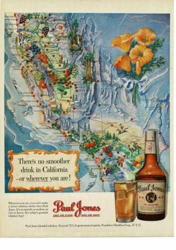 1950 PAUL JONES Whiskey California Map art Vintage Ad