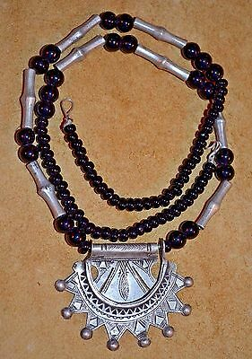 Antique Nomadic Tuareg Tribal Silver Berber Amulet Pendant Necklace Niger Africa