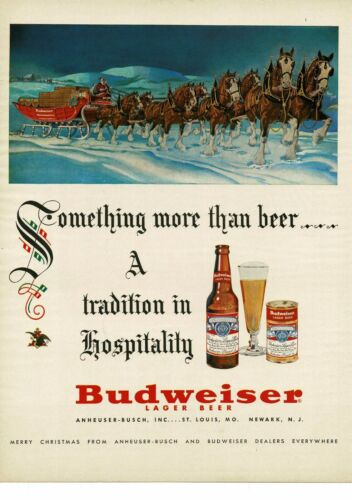 1952 BUDWEISER beer Christmas Santa Claus Clydesdale Horses Team VTG PRINT AD