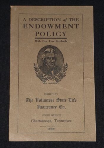 Volunteer State Life Insurance Co. Chattanooga, Tennessee 1912 Booklet