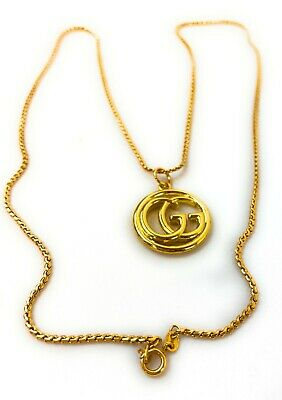 Audrey Leighton Vintage Collection14 Gucci Pendant Necklace 24k GoldPlated Chain