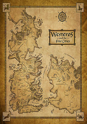 A3 Game Of Thrones Houses Map Westeros/WORLD MAP POSTER PRINT - BUY2GET1FREE