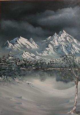 Ölbild, Ölgemälde, Winter, Landschaft, Berge, Gebirge, Schnee, Nacht, 50x70cm