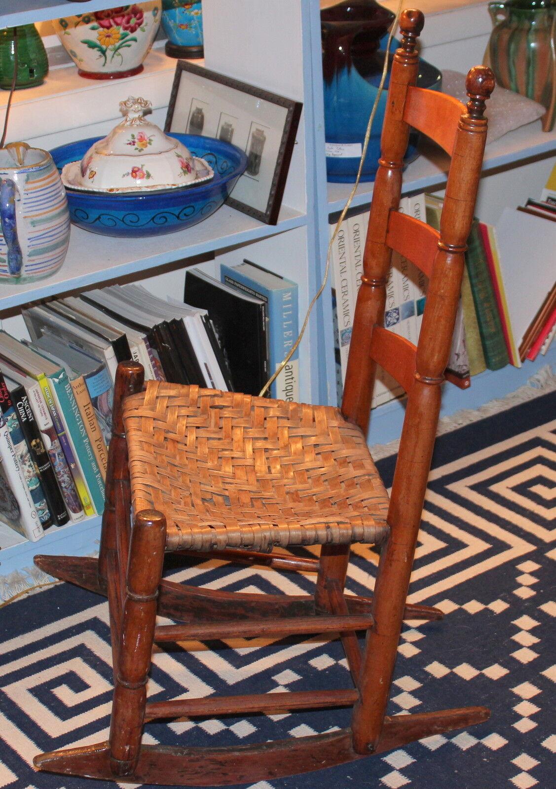Antique Early New England Shaker Type Rocking Chair Splint Seat  eBay