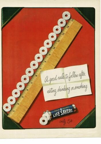 """1950 LIFE SAVERS Pep O Mint peppermint candy 14"""" ruler Vintage Ad"""