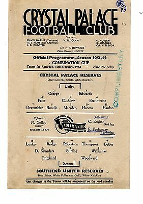 Crystal Palace v Southend United Reserves Programme 16.2.1952 Combination Cup