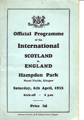 One of few surviving programmes from the 1935 Scotland and England clash