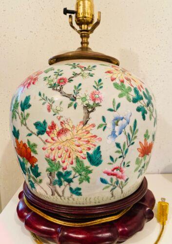 Chinese Celadon Famille Rose Jar Pot 8 inch