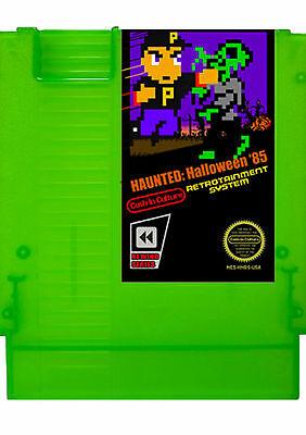 Haunted  Halloween 85 Nes Nintendo Homebrew Video Game Zombie Green Cartridge