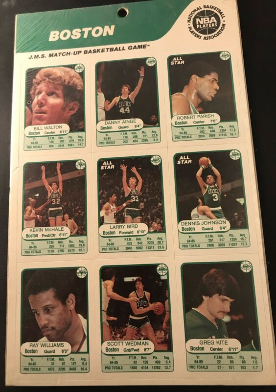 1985 JMS BOSTON CELTICS Larry Bird BASKETBALL SEALED SET of 9 Mt/Walton/Parish