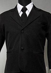 New-Black-formal-Boy-Suit-Kids-Dress-tuxedo-No-Tail-Satin-Lapel-Black-sz-S-to-20