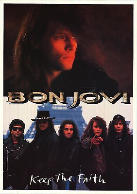 MUSIC POSTER~Bon Jovi Keep The Faith 1992 Original 24x34 Richie Sambora,Jon NOS~