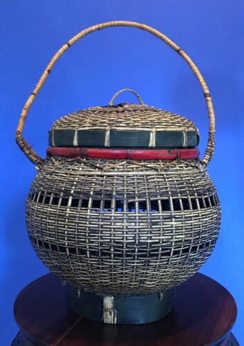 Antique Vintage Asian Hand Woven Basket w/ Handle & Lid - Chinese Japanese