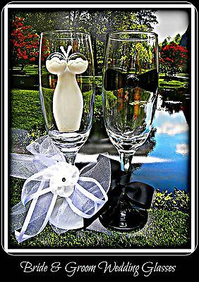 Bride and Groom Wedding Wine Champagne Glasses Bridesmaid Flutes Hand Painted](Bridesmaid Champagne Flutes)