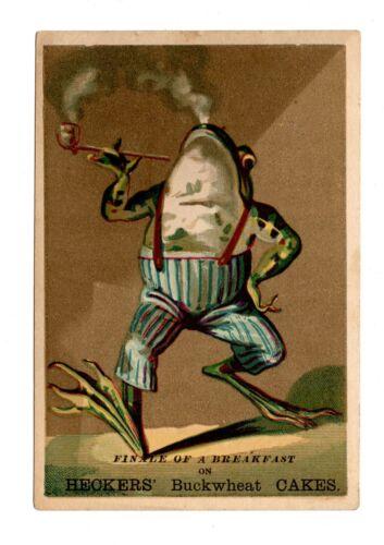 Vintage Anthropomorphic Pipe Tobacco Smoking Frog Victorian Antique Trade Card
