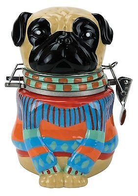 32861 Pugly Pug Sweater Dog Hinged Jar Kitchen Treat Container Puppy Pet Friend