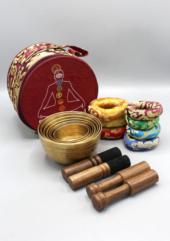 Set of Seven Hand Hammered Tibetan Singing Bowls