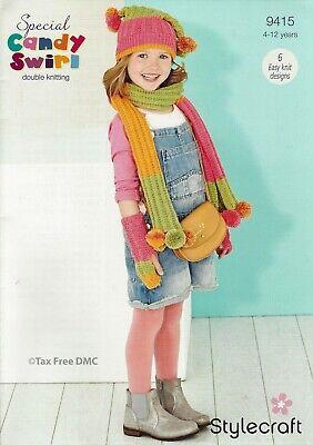 VAT Free Knitting PATTERN ONLY Stylecraft Candy Swirl Scarf & Snoods & Hats 9415 Free Knitting Scarf