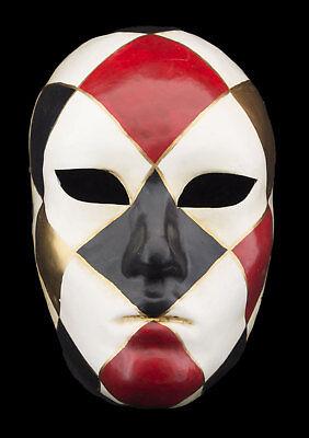 Mask Venice Face Volto Checkerboard Black bordeaux golden Paper Mache 2466 VG10