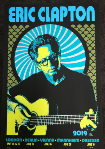 ERIC CLAPTON 2019 EUROPEAN TOUR POSTER LIMITED EDITION SCREEN PRINT BY SCROJO