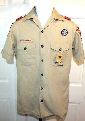 Vintage 1993 Boy Scout Tan Shirt Eagle Scout Size Small Halloween Costume B77