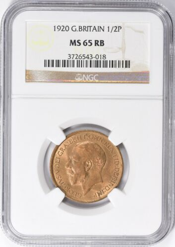 Great Britain 1920 1/2 Penny NGC MS-65 RB