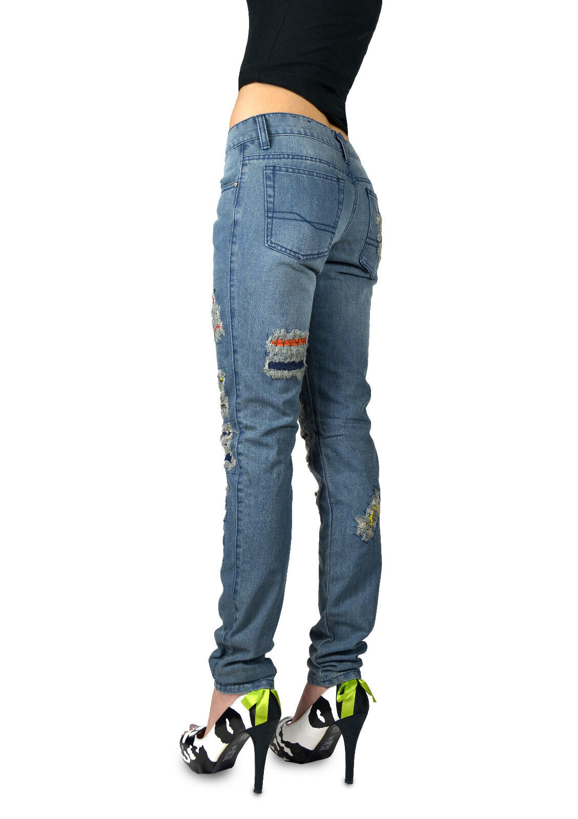 TRIPP INDIGO BLUE PUNK ROCK STAR EMO ART HOLES PATCH JEANS PANTS BS9248 Clothing, Shoes & Accessories