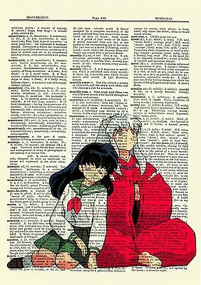 Inuyasha and Kagome Anime Dictionary Art Print Poster Picture Manga Book