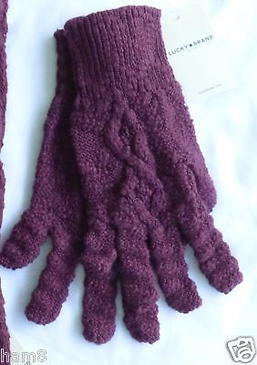 Lucky Brand Womens Gloves One Size Maroon New with Tags Cable Knit Lucky Quality for sale  Shipping to India
